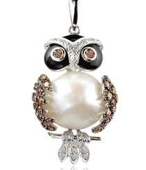 owl made of pearl onyx quarts diamonds